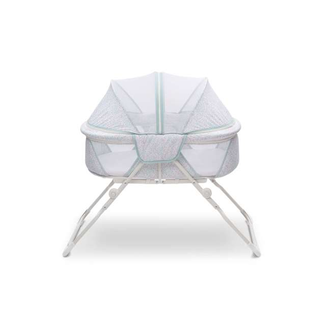 25402-2297 Delta Children EZ Fold Ultra Compact Travel Bassinet Baby Crib, Mirage White 2