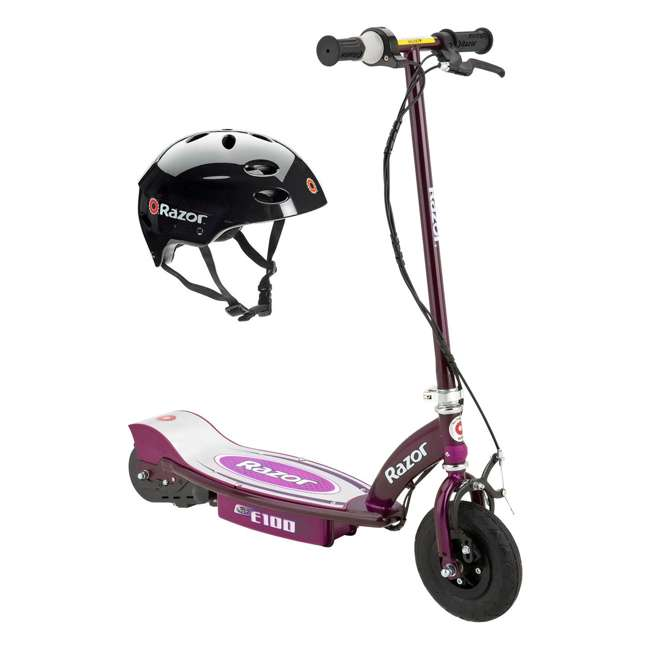 13111250 + 97778 Razor E100 Electric Motor Powered Girls Scooter (Purple) & Youth Sport Helmet