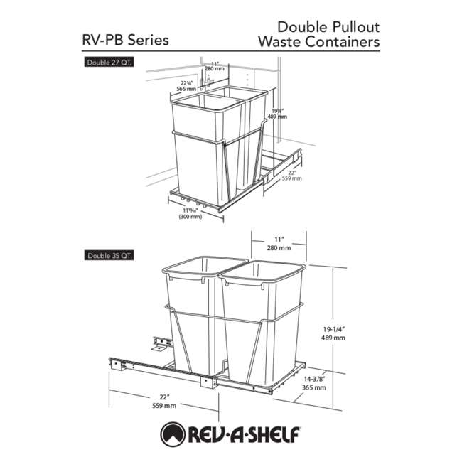 RV-18PB-2 S Rev-A-Shelf RV-18PB-2 S Double 35 Quart Pull-Out Kitchen Waste Containers, White 4