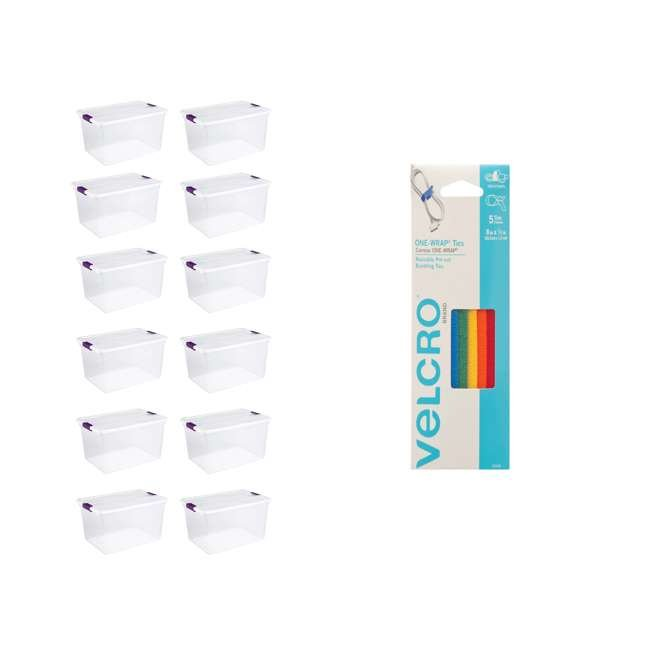 12 x 17571706 + 90438 Sterilite 66 Qt Storage Box (12 Pack) Bundled with VELCRO® Brand Cable Ties (5 Pack)