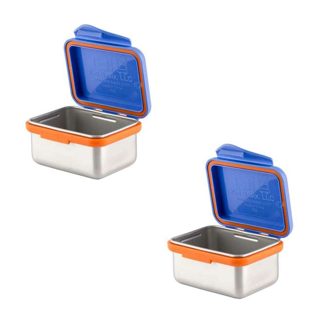 894148002954 Kid Basix Safe Snacker 7 Ounce Stainless Steel Lunch Box, Blue (2 Pack)