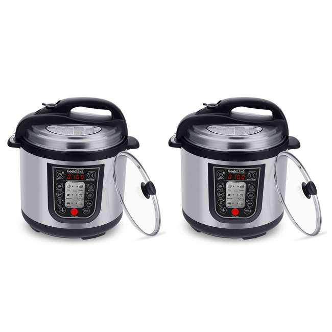 YBW60-GlassLid Geek Chef YBW60 11 in 1 Multi Function 6 Quart Slow and Pressure Cooker (2 Pack)