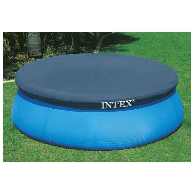 28023E + QLC-42001 Intex 15 Foot Round Cover Tarp Qualco Pool Chemical Kit 2