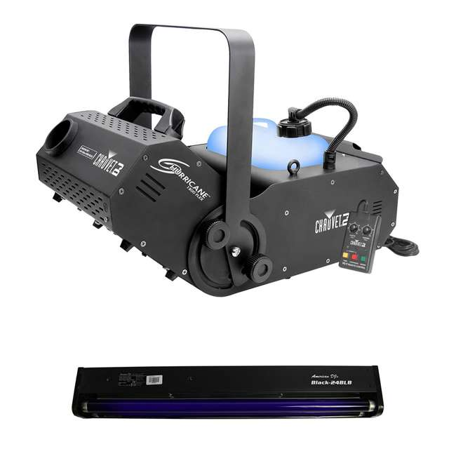 "H1800FLEX + BLACK-24BLB Chauvet DJ Hurricane Fog Pro Machine w/ 24"" 20W Black Light Tube And Fixture"