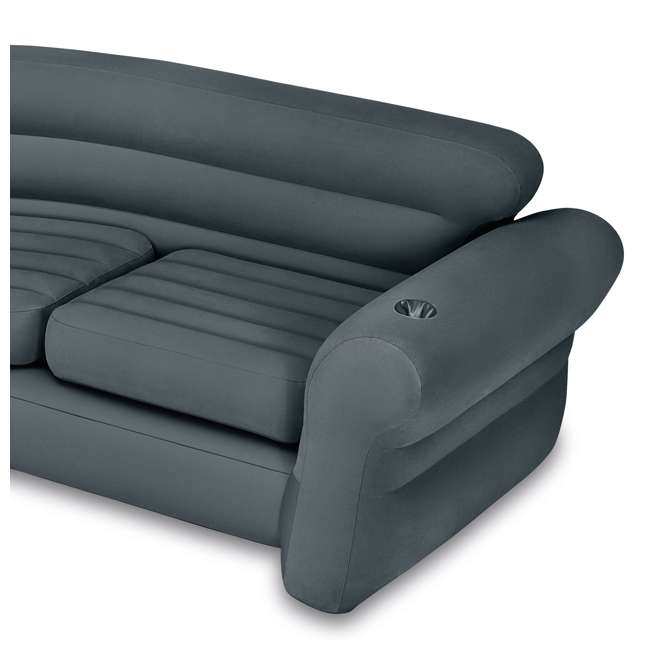 64447EP + 68575VM Intex Queen Ultra Plush Deluxe Air Mattress w/ Pump & Headboard & Corner Couch 8