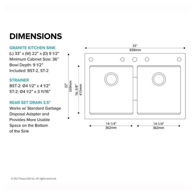 KGD-433B Kraus 33-Inch Dual Mount Double Bowl Granite Sink, Black (2 Pack) 4