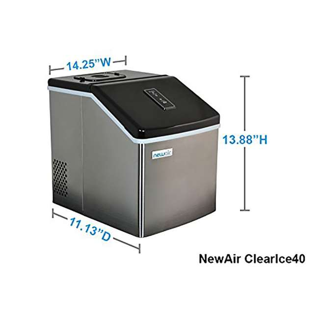 CLEARICE40 NewAir Counter-Top Clear Ice Maker Machine, Stainless Steel 3