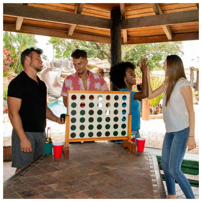 LG100Y19031 Lancaster Gaming Company Giant 4 In A Row Wooden Outdoor Gaming Set w/ Carry Bag 8