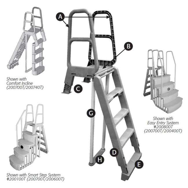 200700T-U-B MAIN ACCESS 200700T Ladder for Above Ground Swimming Pools (Used) (2 Pack) 1