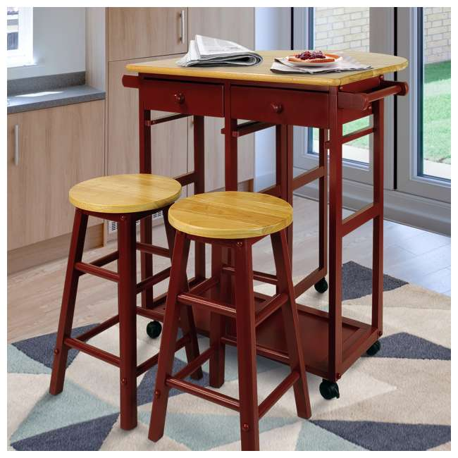 355-29 Casual Home Drop Leaf Hardwood Mobile Breakfast Cart with 2 Wooden Stools, Red 5