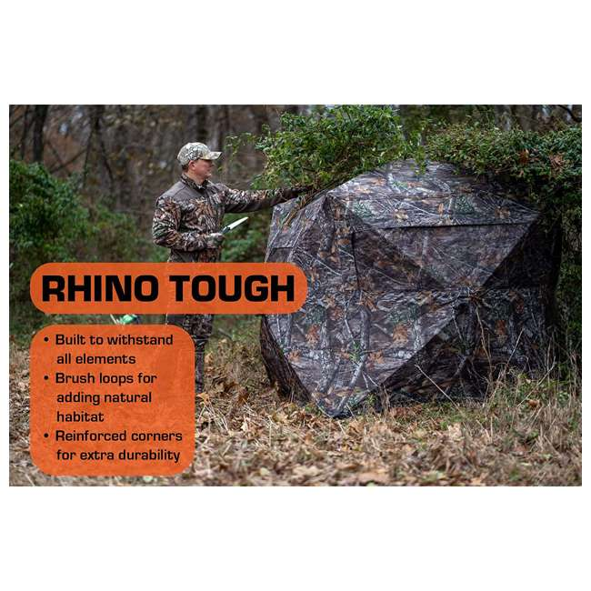R500-RTE Rhino Blinds R500-RTE RealTree Edge 3 to 4 Person Hunting Ground Blind, RealTree 3