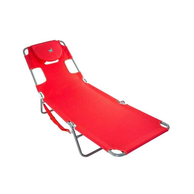 4 x CHS-1002R Ostrich Chaise Lounge Folding Portable Sunbathing Poolside Beach Chair (4 Pack) 2