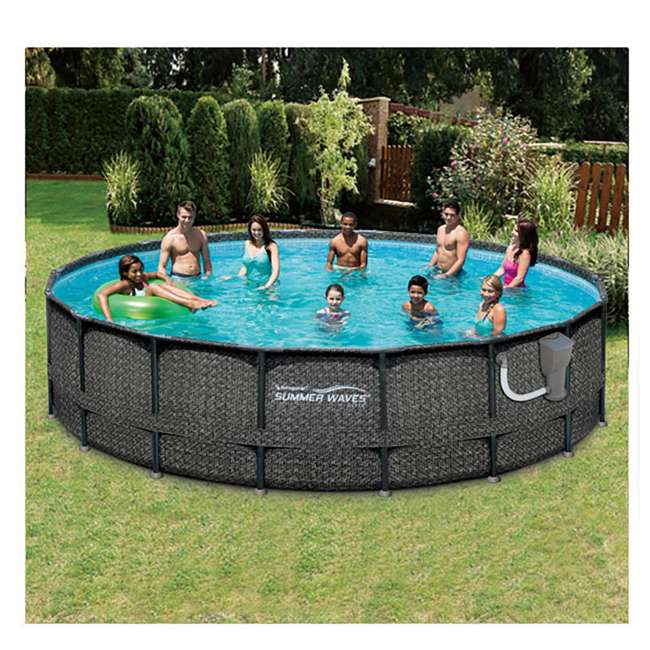 "P4A01848B167 + 28001E Summer Waves Elite 18' x 48"" Above Ground Frame Pool Set + Intex Automatic Above Ground Pool Vacuum  7"