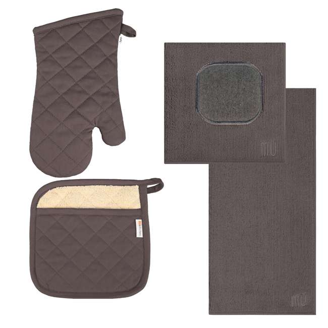 9345-1955 MUkitchen 4 Piece Kitchen Dish Cloth, Towel, and Oven Mitt Set, Gray