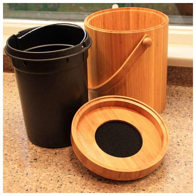 KA-BB3Q Good Ideas Portable 3-Quart Bamboo Kitchen Compost Pail w/ Odor-Blocking Filter 1