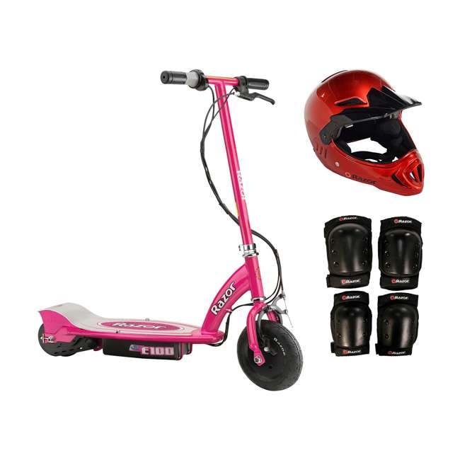 13111261 + 97880 + 96785 Razor E100 Pink 24V Electric Ride On Scooter w/ Red Helmet & Red Elbow/Knee Pads
