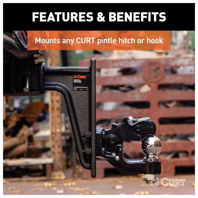 48349 Curt 48349 2.5 Inch Receiver 7 Hole Pintle Mount Trailer Hitch Mounting Plate 3
