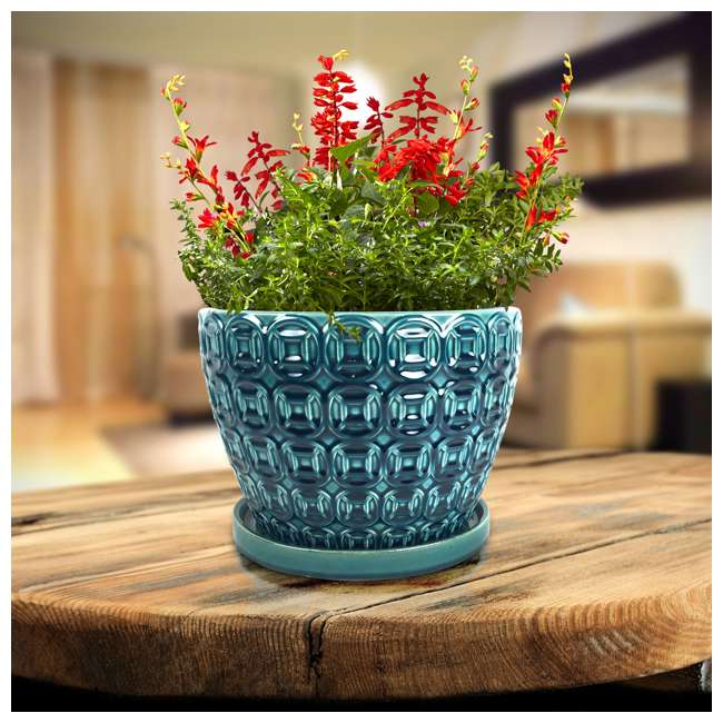 SPAT-CRM-047117 Southern Patio 12 Inch Ceramic Clay Mayer Flower Planter & Saucer Tray, Seafoam 5