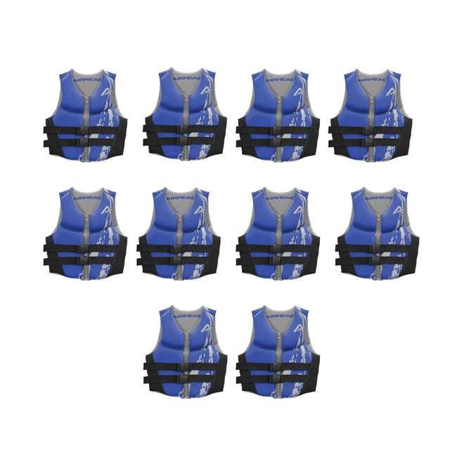 10 x 10076-09-B-BL Airhead Swoosh Neolite Adult Medium Life Vest, Blue (10 Pack)