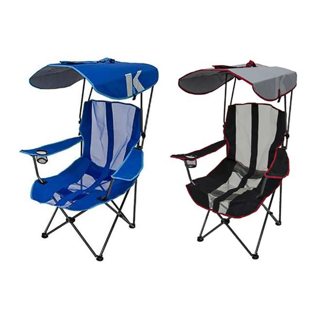 80185 + 80187 Kelsyus Premium Portable Camping Folding Lawn Chairs with Canopy, Blue & Black