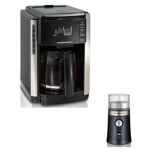 45300 + 80393-HB Hamilton Beach Coffee Maker & Custom Electric Bean Blade Grinder
