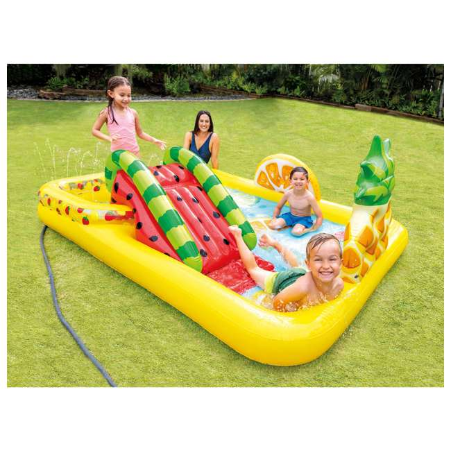57158EP Intex 57158EP Fun'N Fruity Outdoor Inflatable Kiddie Pool Play Center with Slide 1