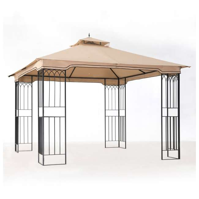 110101009 Sunjoy 10 x 10 Foot Backyard Outdoor Fence AIM Gazebo Canopy, Beige 1