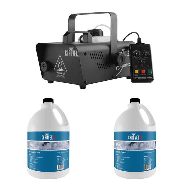 H1600 + 2 x HDF CHAUVET DJ Hurricane 1600 2.4L Fog Machine + High Density Fog Juice (2 Pack)