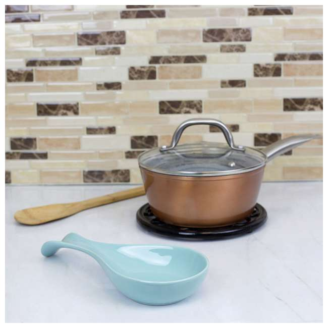 SR47189 Home Basics Ceramic Cooking Utensil Holder Spoon Rest, Turquoise 2