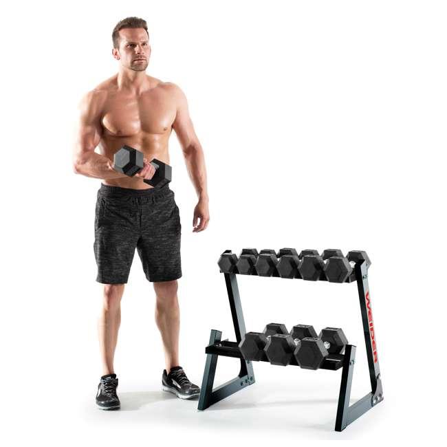WDBKR20017-U-A Weider Fitness 200 Pound Weights Hand Grip Rubber Hex Dumbbell Set (Open Box) 2