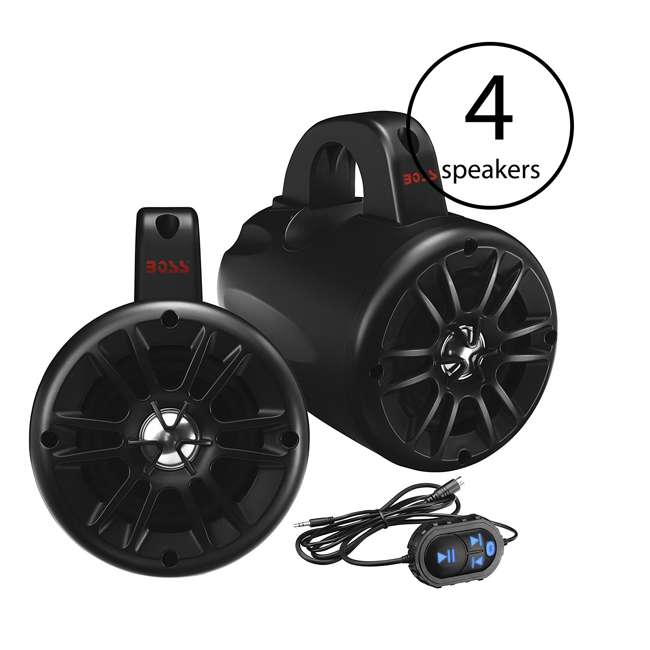BM40AMPBT Boss Audio 500-Watt 2-Way Amplified Bluetooth Marine Speakers 4 Pack)