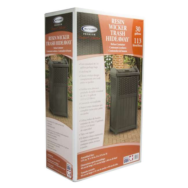8 x GHW1732 Suncast Trash Hideaway 33 Gallon Resin Wicker Outdoor Garbage Container (8 Pack) 4