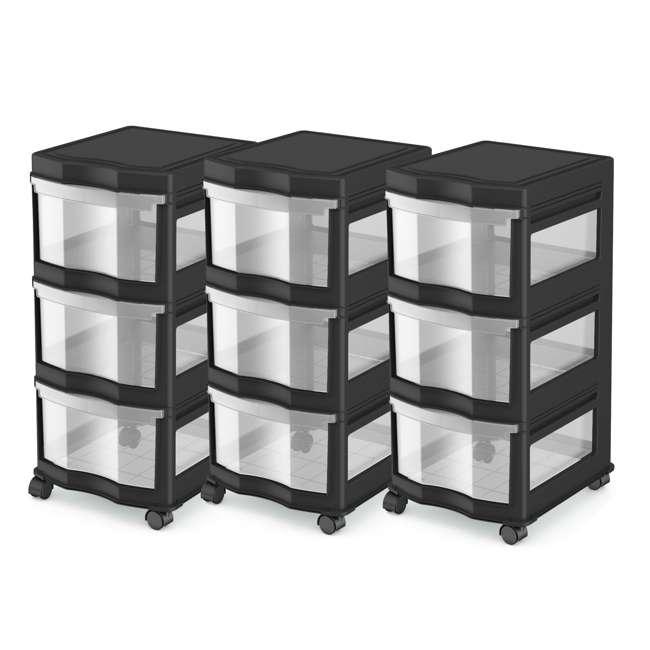 3 x DRW3-M-BL Life Story Classic 3-Shelf Storage Organizer Drawers, Black (3 Pack)