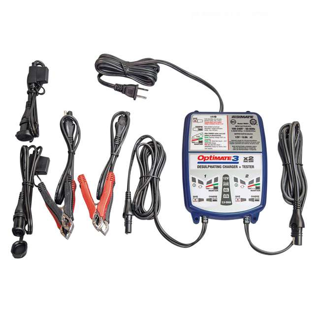 TM-451 TecMate OptiMATE 3 Duel Bank 12-Volt Vehicle Battery Charger
