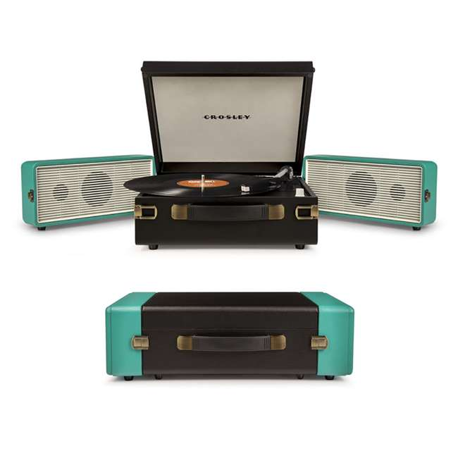 CR6230A-TU Crosley Snap USB Enabled Portable Turntable, Black/Turquoise 4