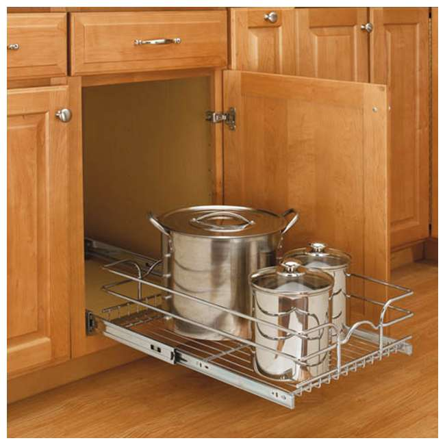 5WB1-1222-CR Rev-A-Shelf 12 Inch Wide 22 Inch Deep Base Kitchen Cabinet Pull Out Wire Basket 5