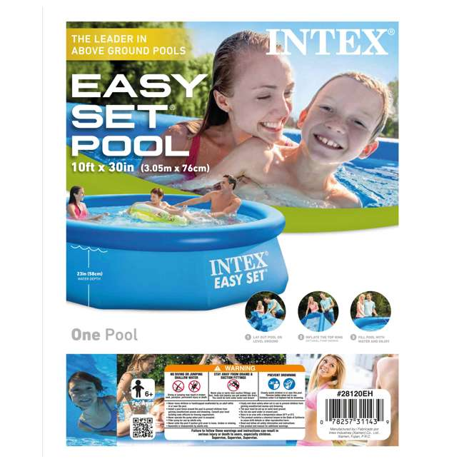 "28120EH-U-B Intex 10' x 30"" Easy Set Above Ground Inflatable Swimming Pool (Used) (2 Pack) 4"