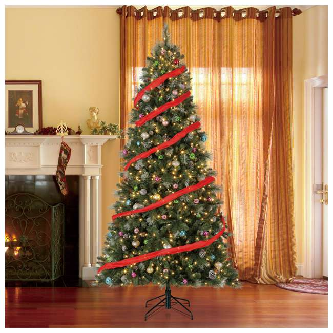 TG66M3ABAD00-U-A Home Heritage Lincoln 6.5' 400 Bulb Christmas Tree, Pine Cones/Glitter(Open Box) 4