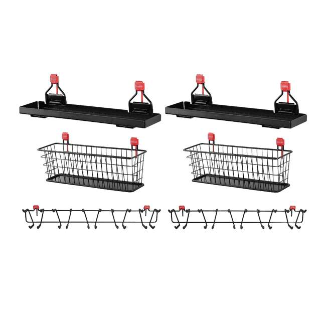"2024654 + 2 x 2024656 + 2 x 2032730 Rubbermaid Shed Shelf, Wire Basket & 50 Lbs Capacity 34"" Tool Rack (2 of Each)"