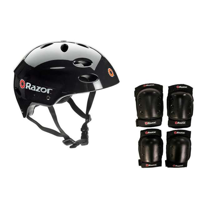 13116397 + 97778 + 96785 Razor E325 Electric 24V Motorized Scooter (Black) with Helmet, Elbow and Knee Pads 2