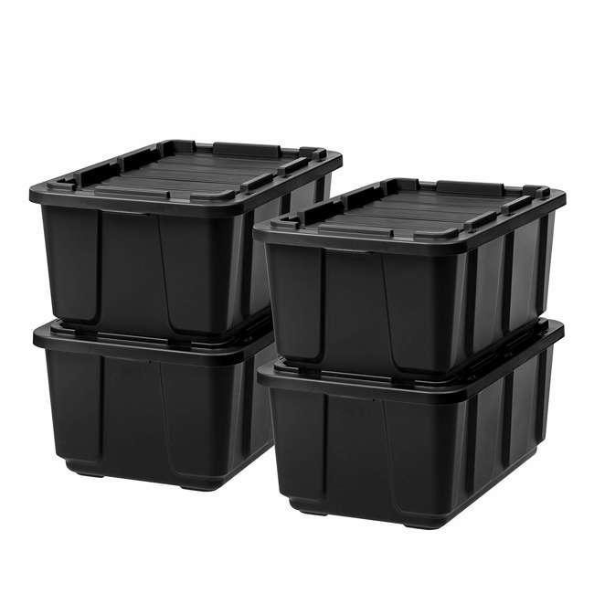 4 x 589090 IRIS USA 589090 27 Gallon Utility Tough Stackable Plastic Storage Tote, Black