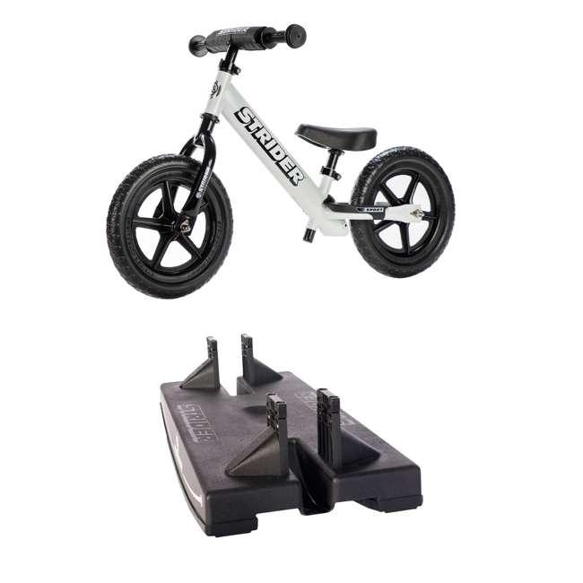 ST-S4WT + PROCKBASE-12-BK Strider 12 Sport Balance Bike, White + Rocking and Rolling Balance Base, Black