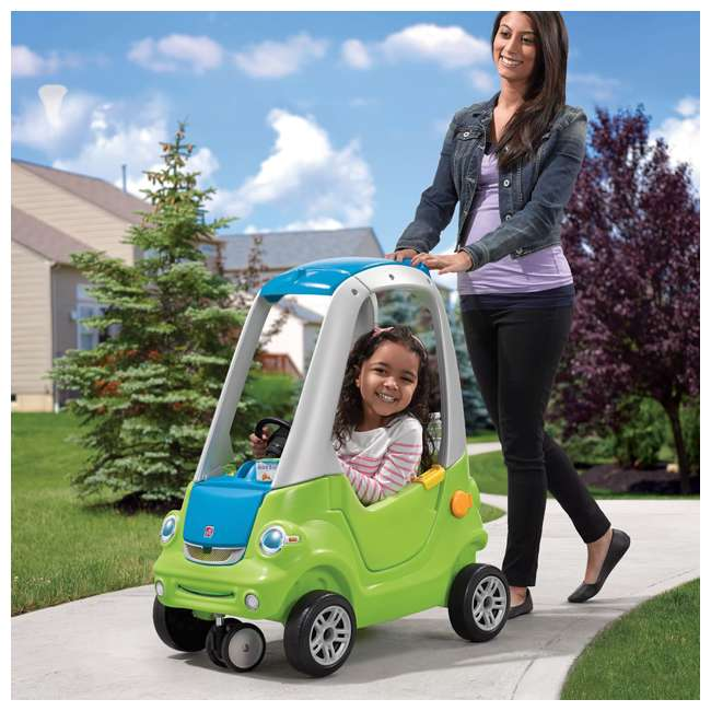 845100-U-A Step2 Toddler Push Ride On Toy Car for Kids Easy Turn Coupe in Green (Open Box) 3