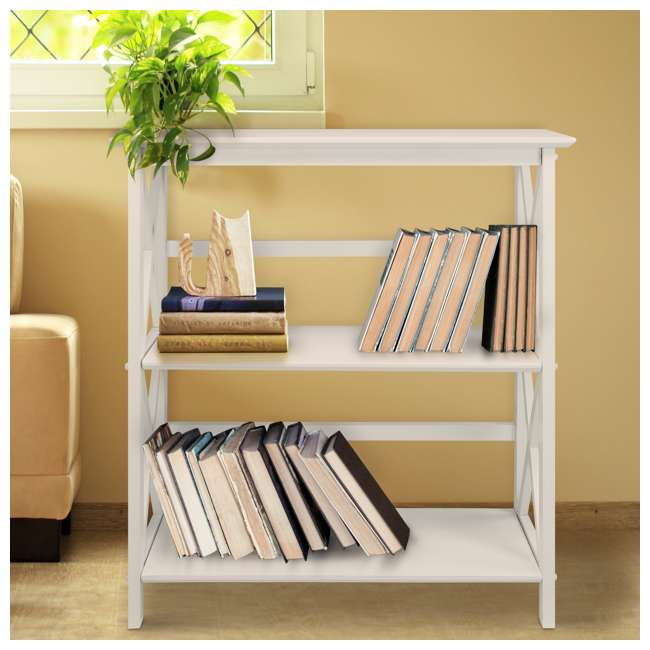 324-31 Casual Home Montego 3 Shelf X Design Folding Stackable Wood Bookcase, White  4