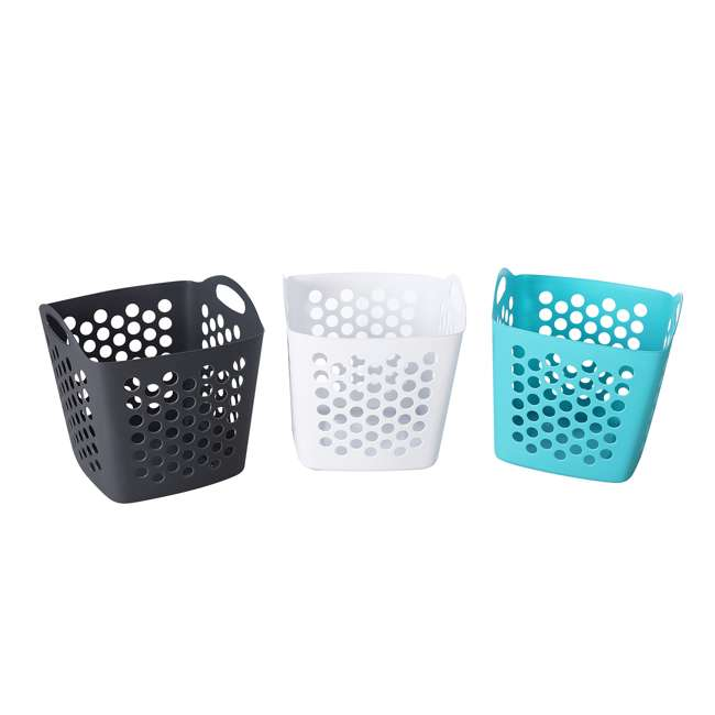 FBA32825 Ezy Storage Flexi 7 Gallon Flexible Plastic Dirty Clothes Laundry Basket Bin 1