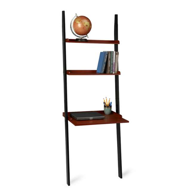 French Country Leaning Ladder Bookcase Wall Desk Shelf R3 0116