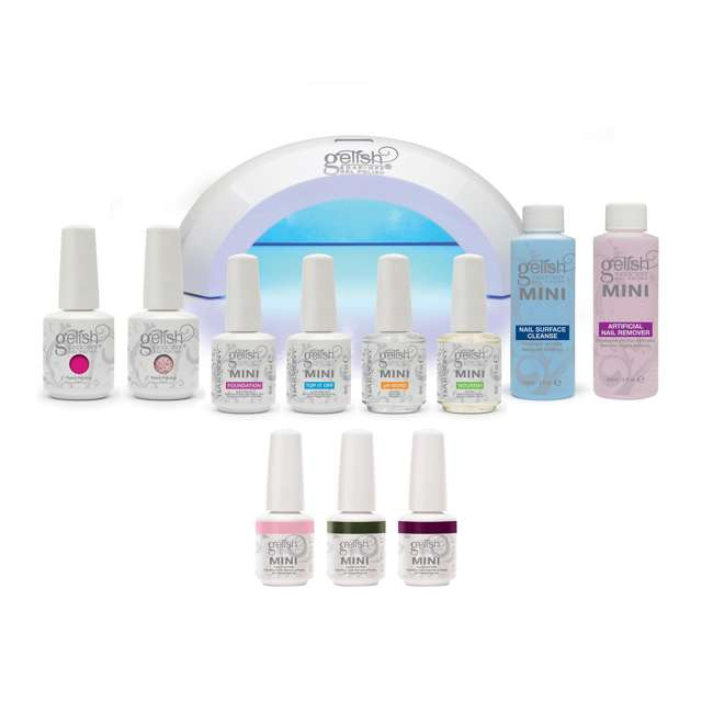 1900114-START3KIT Gelish Mini Harmony Complete Starter Led Gel Nail Polish Kit with 5 Additional Colors