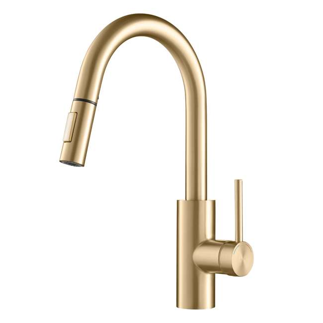 KPF-2620BB-U-A Kraus Oletto Single Handle Gooseneck Sink Faucet, Gold Finish (Open Box)