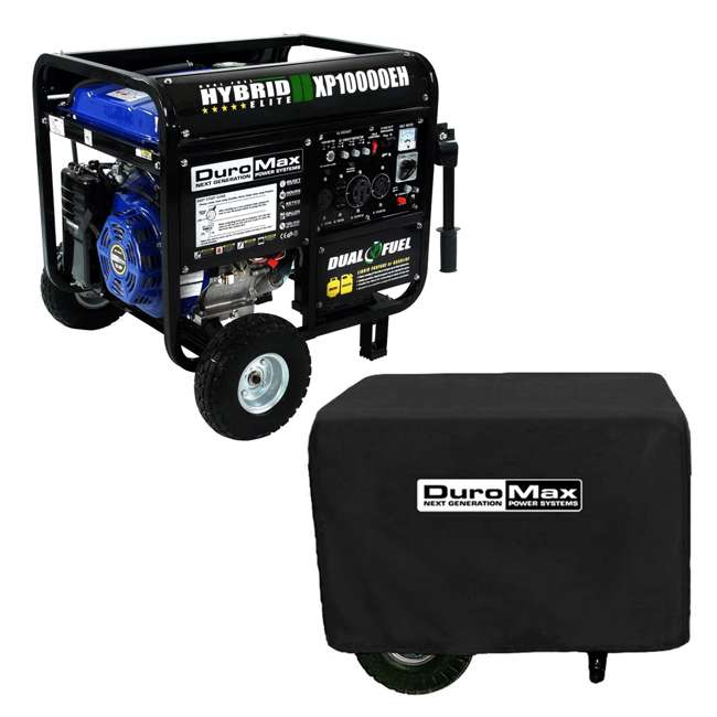 XP10000EH + XPLGC DuroMax 10000 Watt Hybrid Portable Generator & Generator Cover, Black