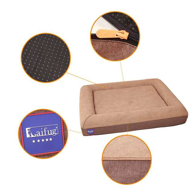 M1222 Laifug Large Waterproof Memory Foam Dog Bed Mattress, Chocolate 3